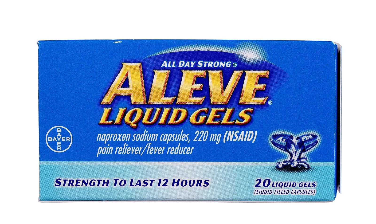 RIVER FALLS, WISCONSIN-OCTOBER 24, 2014: A box of Aleve Liquid Gels pain reliever. This is a product of Bayer Healthcare LLC.