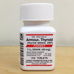 a bottle of Armour thyroid pills provide combination therapy for hypothyroidism