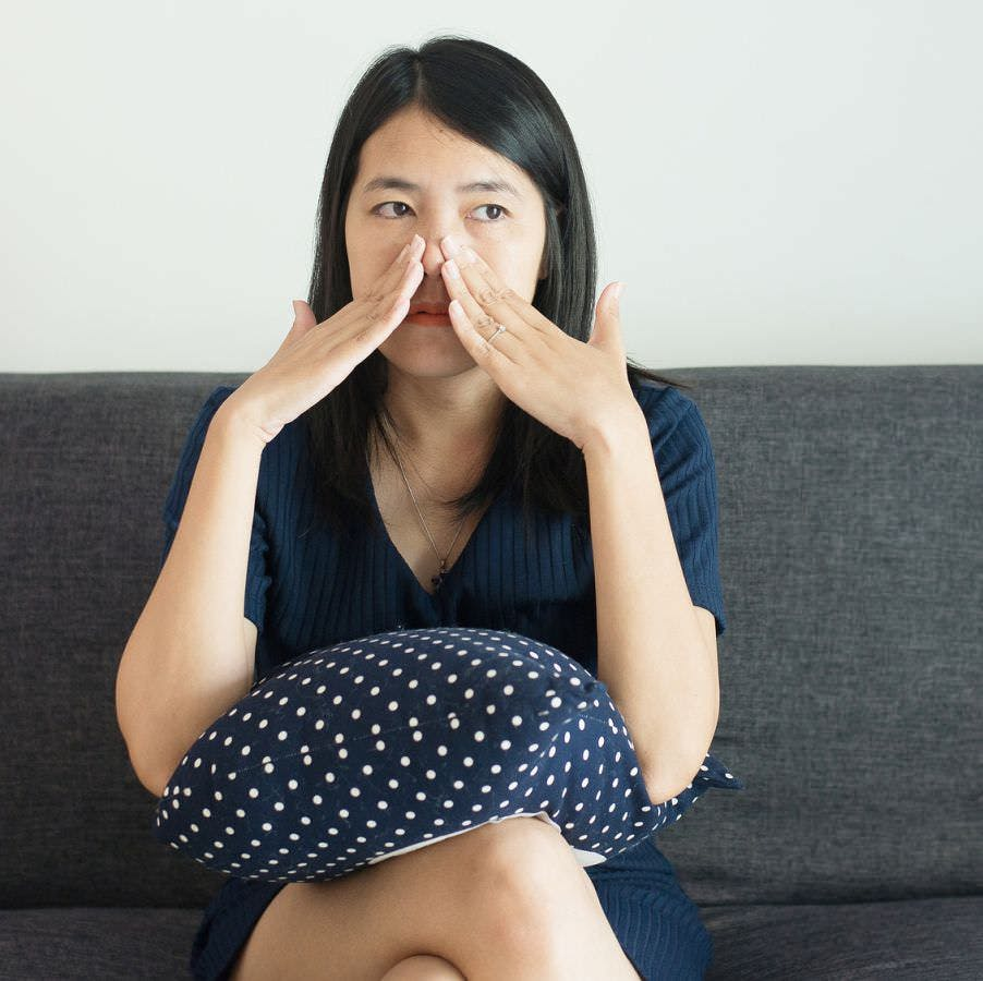 young woman with sinus congestion