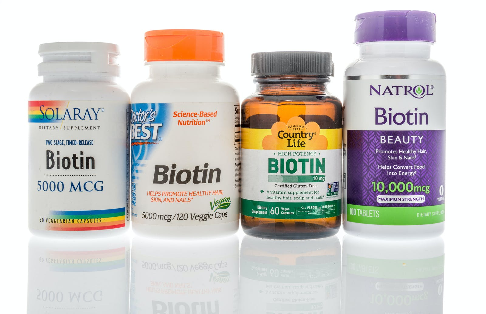 Winneconne, WI – 27 May 2019 : A collection of biotin supplements on an isolated background