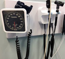 blood pressure cuff in a hospital room