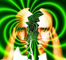 illustration of a head splitting in two with green waves of pain radiating out