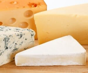 assortment of full-fat cheese