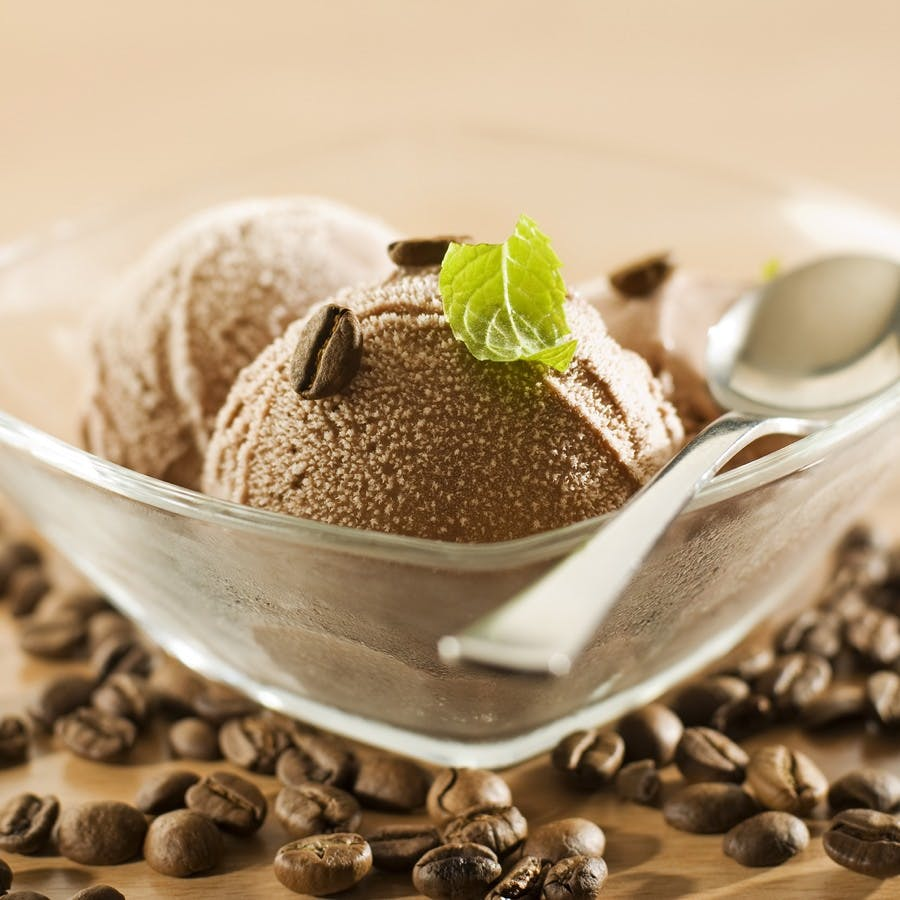 Fresh coffee ice cream close up shoot