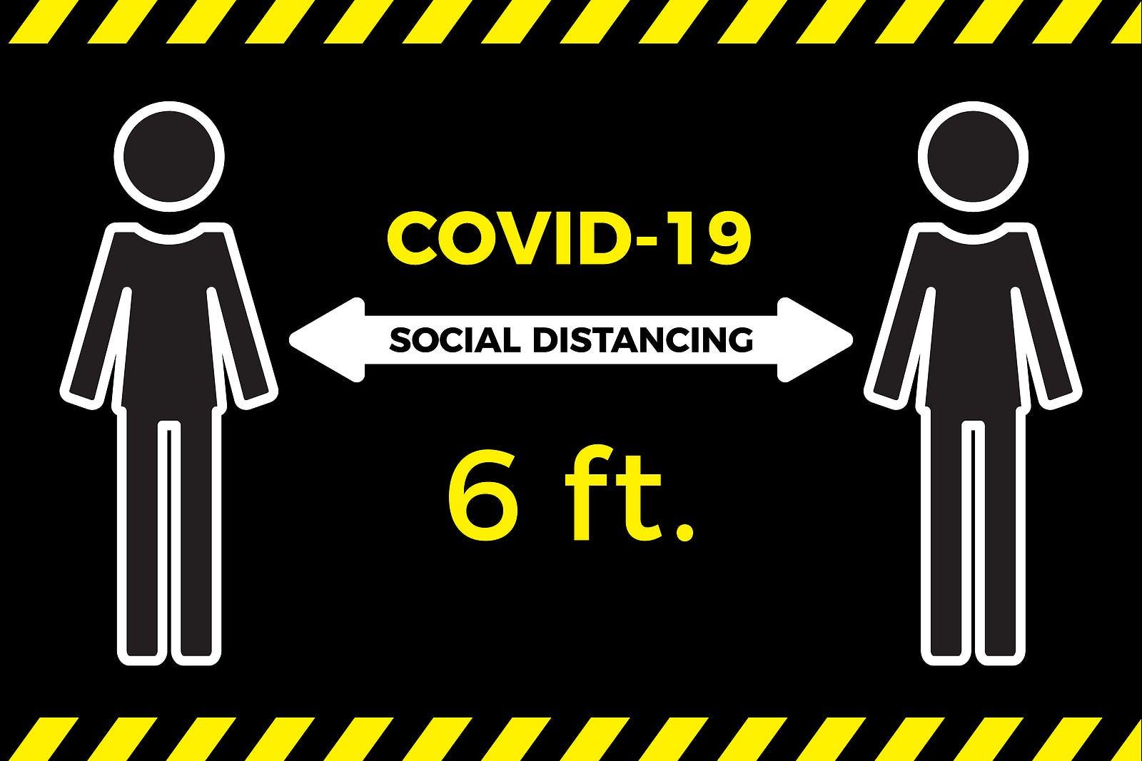 Coronavirus COVID-19 virus social distancing concept. Stay six feet apart. Flat icon vector illustration