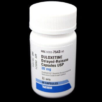 A bottle of generic delayed-release Duloxetine (Cymbalta) 30 mg