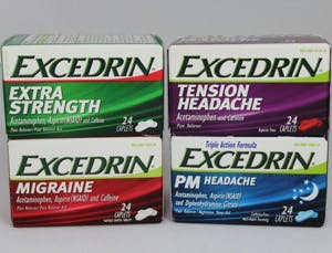 Excedrin boxes, various formulations