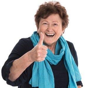 Optimist Happy woman thumb up