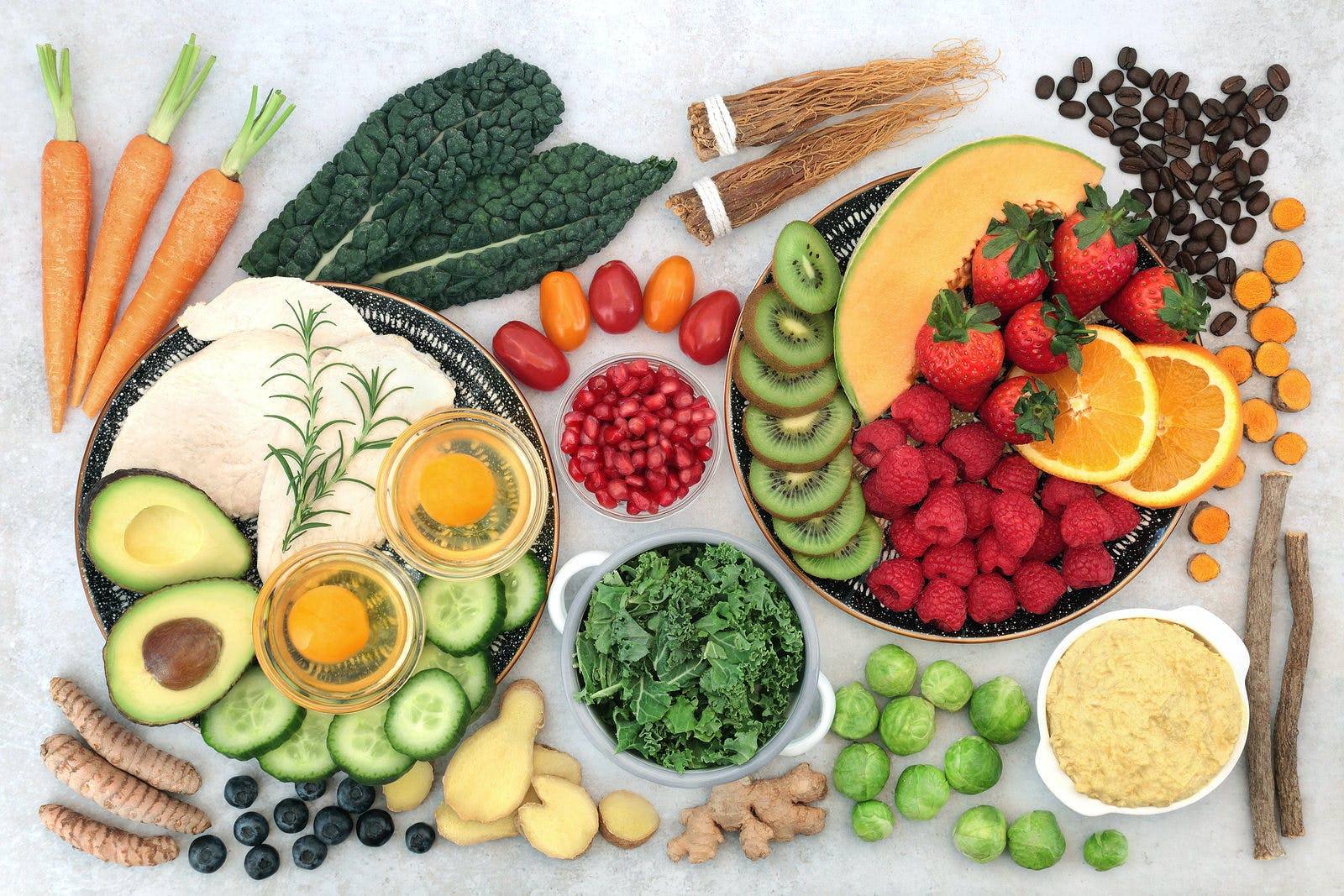 Healthy food collection for asthma sufferers, high in protein, omega 3, antioxidants, vitamins and minerals. Foods to also help wheezing, shortness of breath, COPD and respiratory diseases. Flat lay.