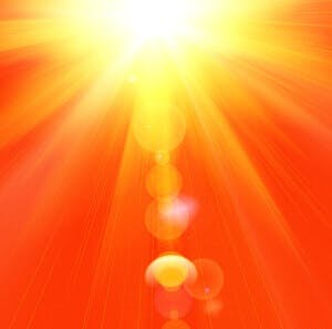 the hot summer sun blazing down