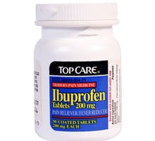 A bottle of TopCare Ibuprofen Tablets, 200mg dosage