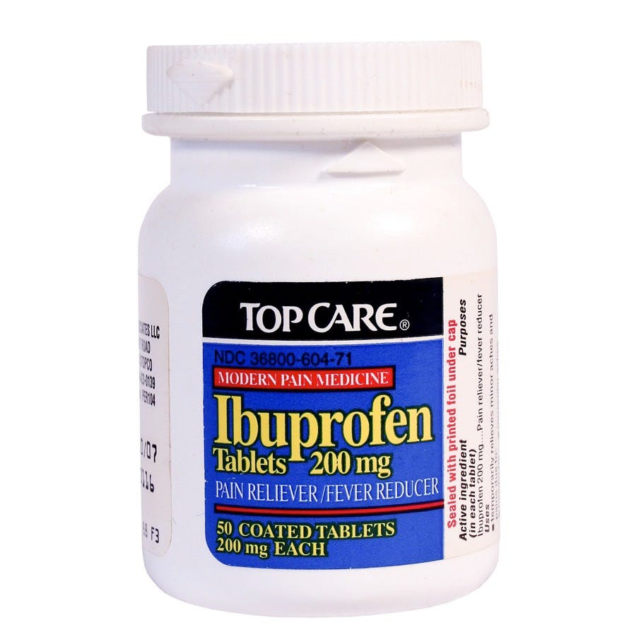 RIVER FALLS,WISCONSIN-APRIL 1,2014: A bottle of TopCare Ibuprofen Tablets. Ibuprofen is a non-steroidal drug for treatment of painfeverand inflammation.
