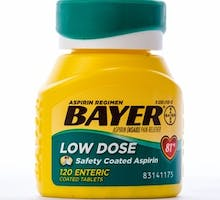 Bottle of Bayer Low Dose Aspirin (baby aspirin) 81 mg