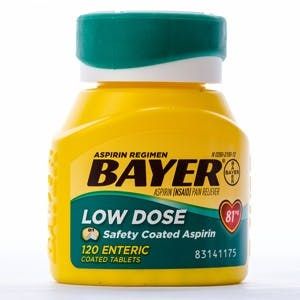 LLANO TX-AUG 16 2015: Bottle of Bayer Low Dose Aspirin against white background. Recommended by doctors to reduce chance of Heart Attack.
