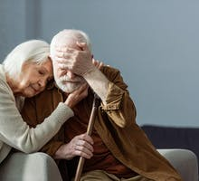 Husband and wife dealing with dementia