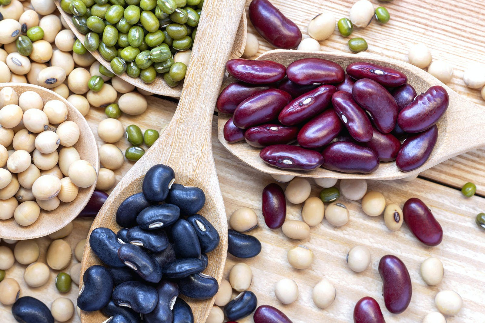 Many types of beans are separated in a spoon on a wood table such as mung bean, soybean, black bean, red bean. Leguminous plant native to Asia, widely cultivated for its edible seeds.