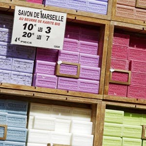 Traditional Marseille soap also called Savon de Marseille put up for sale at the market