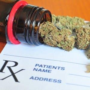 Photo of dry medical marijuana buds and a prescription pad