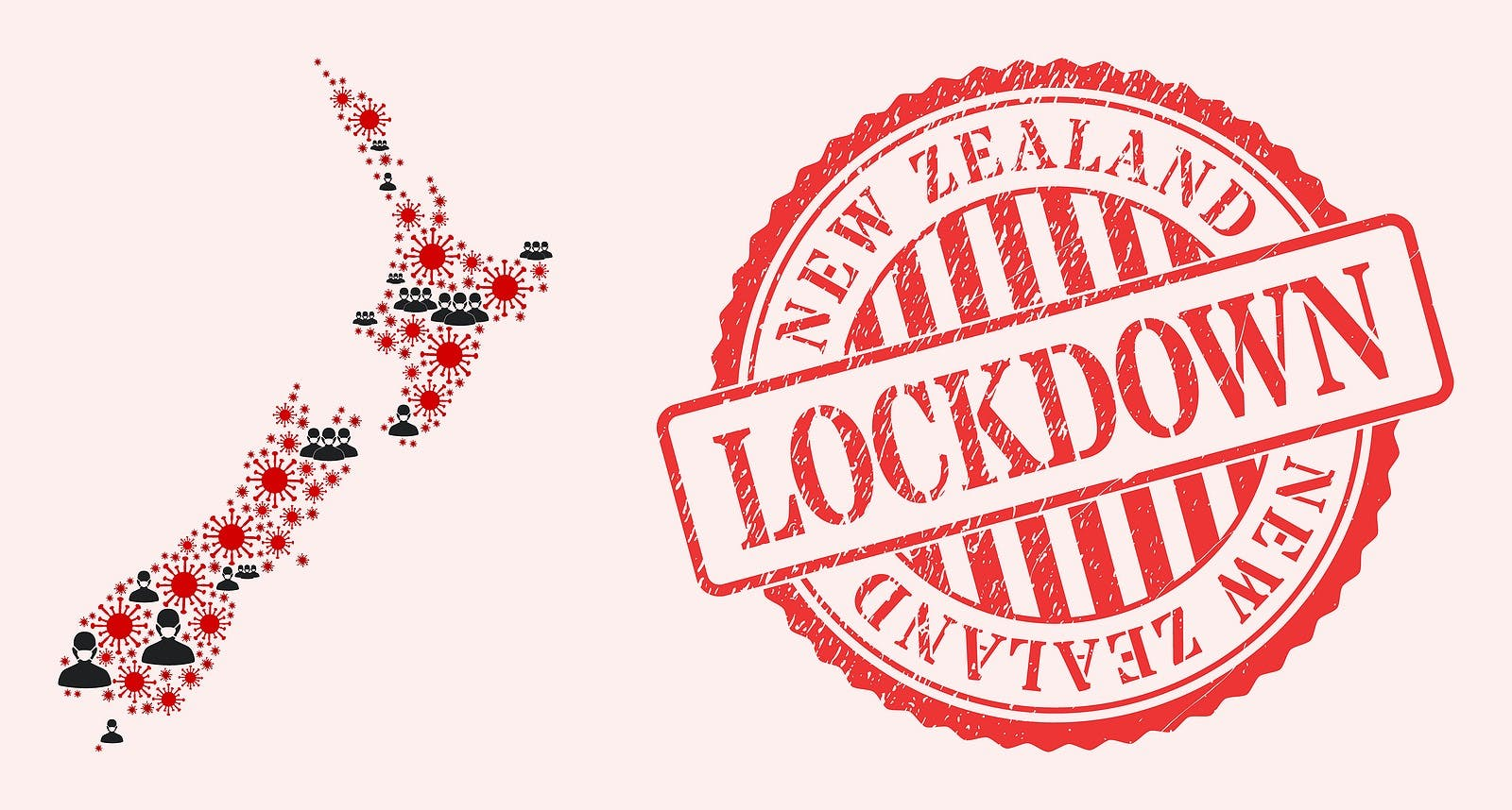 Vector mosaic New Zealand map of covid-2019 virus, masked men and red grunge lockdown seal. Virus items and men in masks inside New Zealand map.
