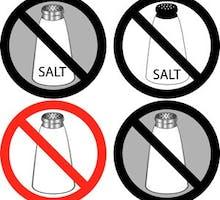 """Illustration of four """"no salt"""" signs"""