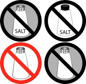 Vector Illustration of four no salt signs.