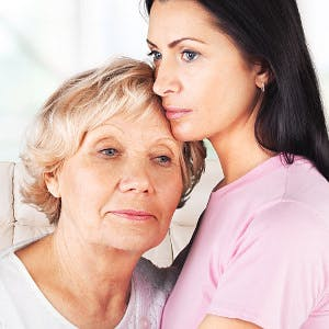 senior woman with her adult daughter