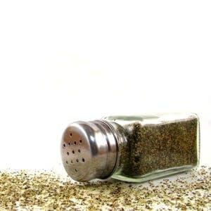 Ground black pepper in a shaker, black pepper to stop bleeding