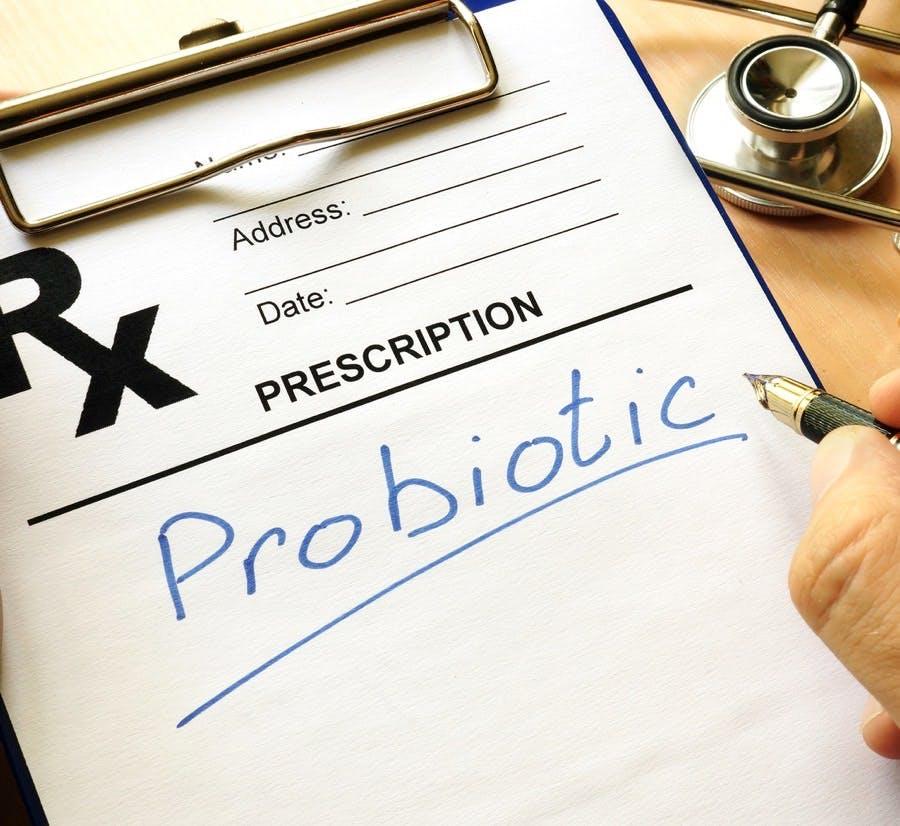 Prescription form with sign Probiotic. Medical concept.