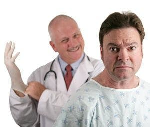a doctor and a patient getting for a prostate checkup