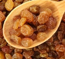 spoonful of golden raisins, gin-soaked golden raisins