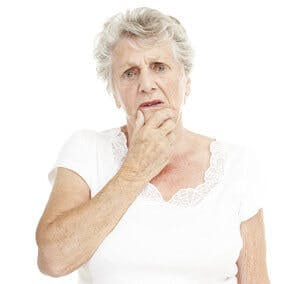 a confused or forgetful older senior woman
