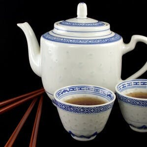 teapot with two small cups