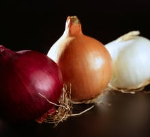 red, white and yellow onions