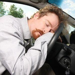 Sleepy car driver sleep