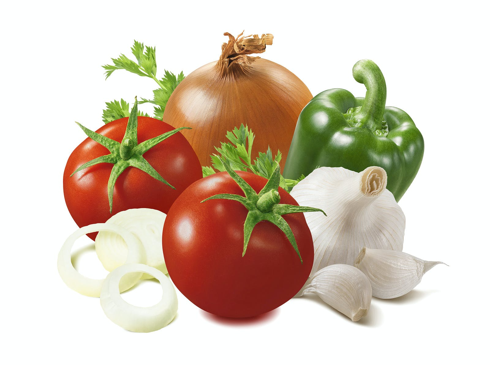 tomatoes, peppers, onions and garlic
