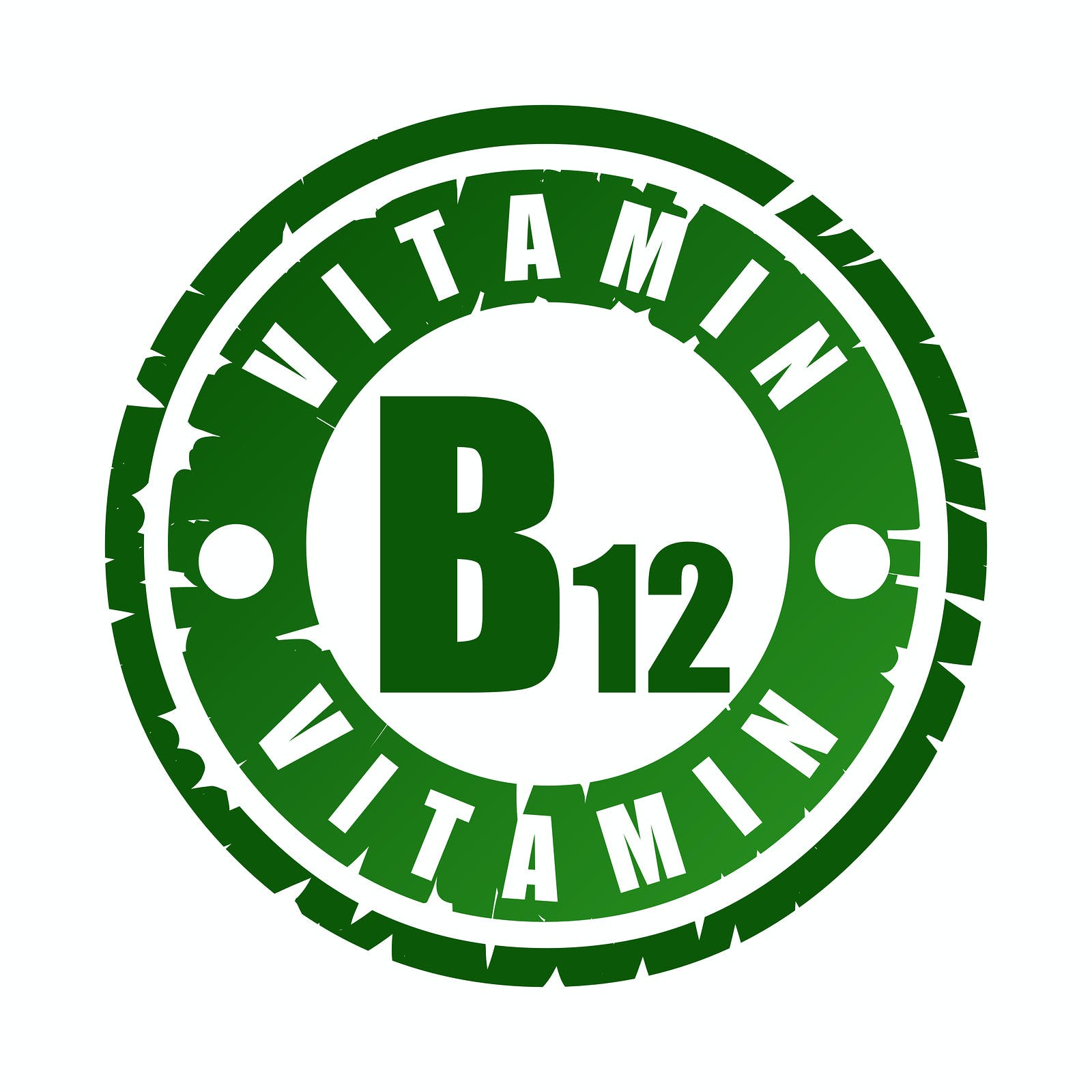 Green round rubber stamp with vitamin B12 text