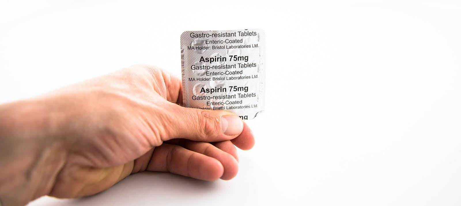 Alloa, Scotland – 13 August 2019: Aspirin 75 mg gastro-resistant tablets