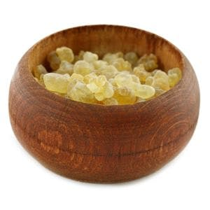 A bowl of Boswellia resin, also known as frankincense