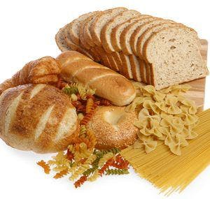 a selection of different pastas and breads