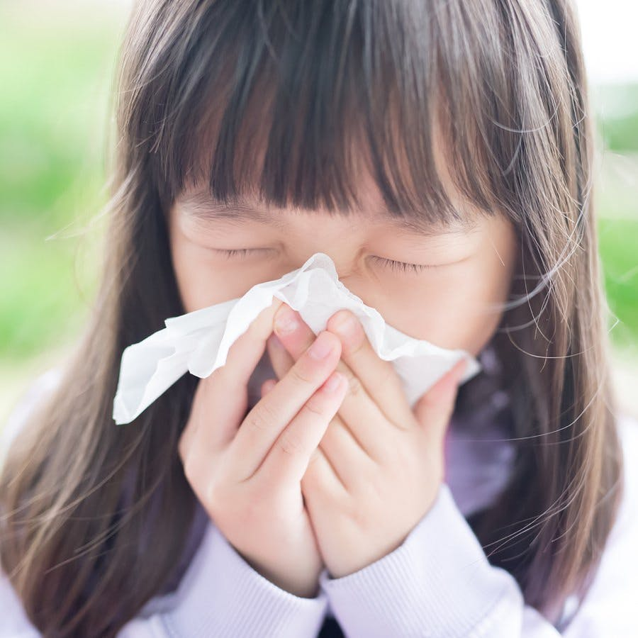little girl with a cold sneezing and blowing her nose