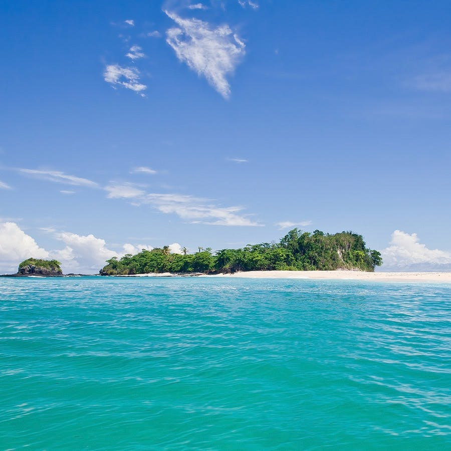 Desert island with palm trees on the sandbank