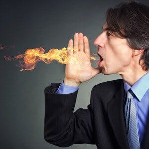 man with burning mouth syndrome breathing fire
