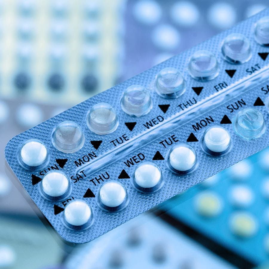 Oral contraceptive pills on pharmacy counter