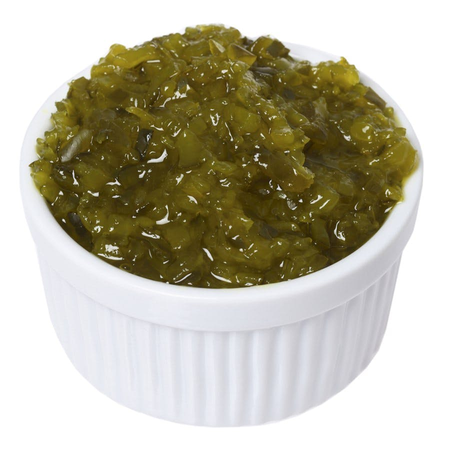 White ramekin full of pickle relish