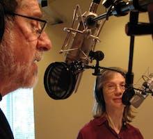 "Joe and Terry Graedon recording the radio show ""The People's Pharmacy."""