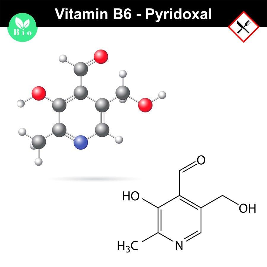 Pyridoxal chemical molecular formula and model, vitamin b6 group